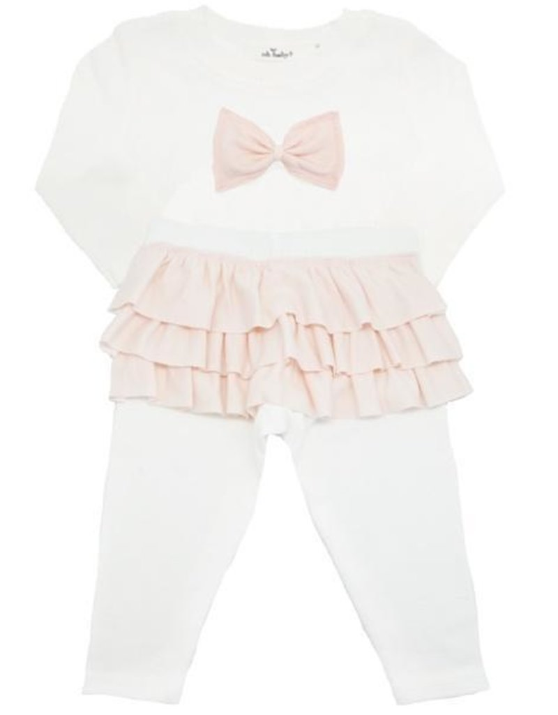 Oh Baby! Cream Ruffle Bow 2 pc. Set