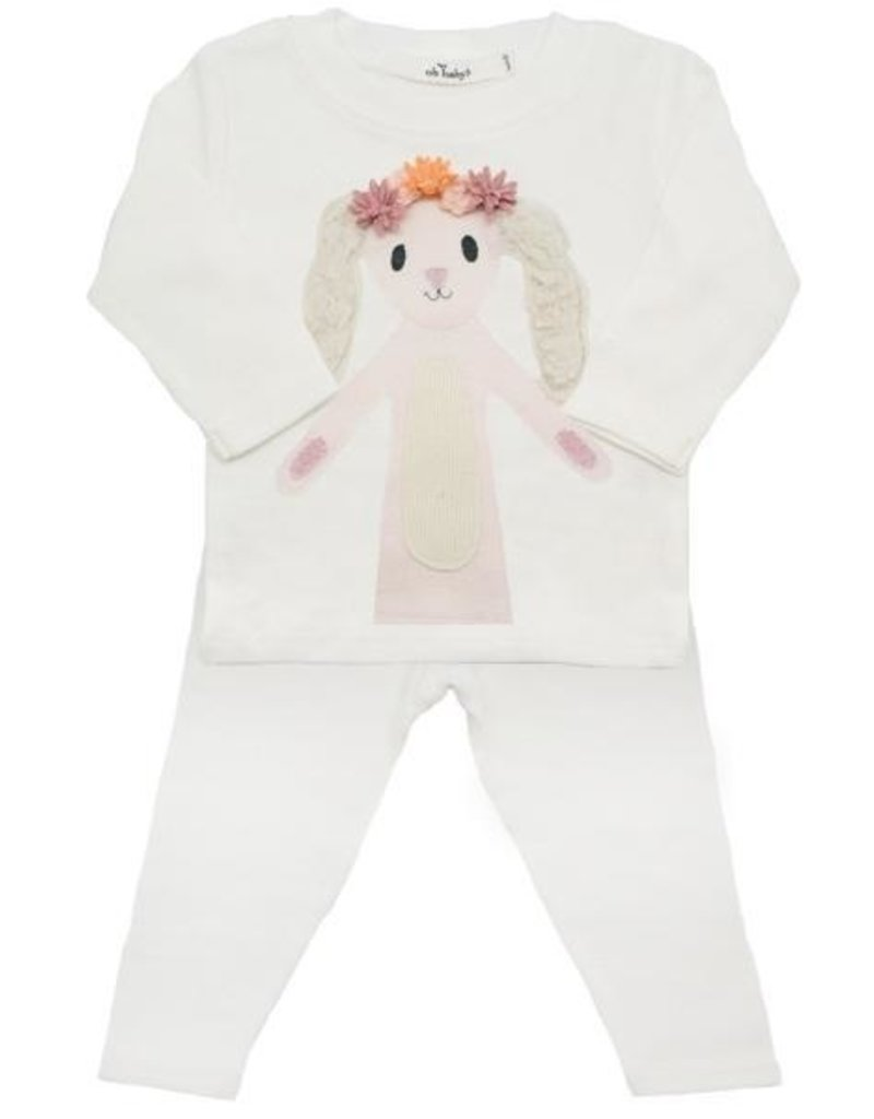 Oh Baby! Oh Baby! Cream Bunny Flower Crow 2 pc. Set