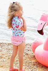 RuffleButts Whimsy Watermelon Rash Guard Bikini