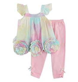isobella & chloe Isobella & Chloe Tye-Dye Bottom FLower & Legging set