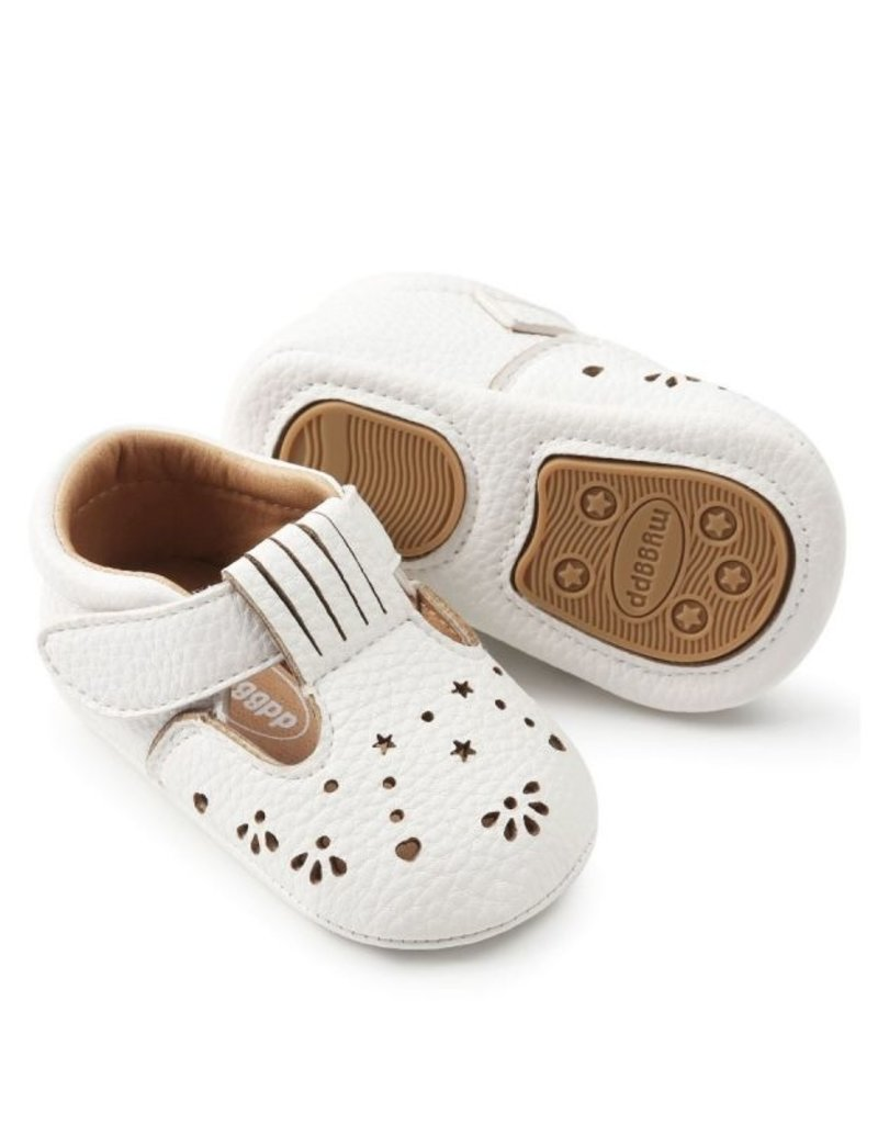 Baby Kiss White Heart Punched Shoes