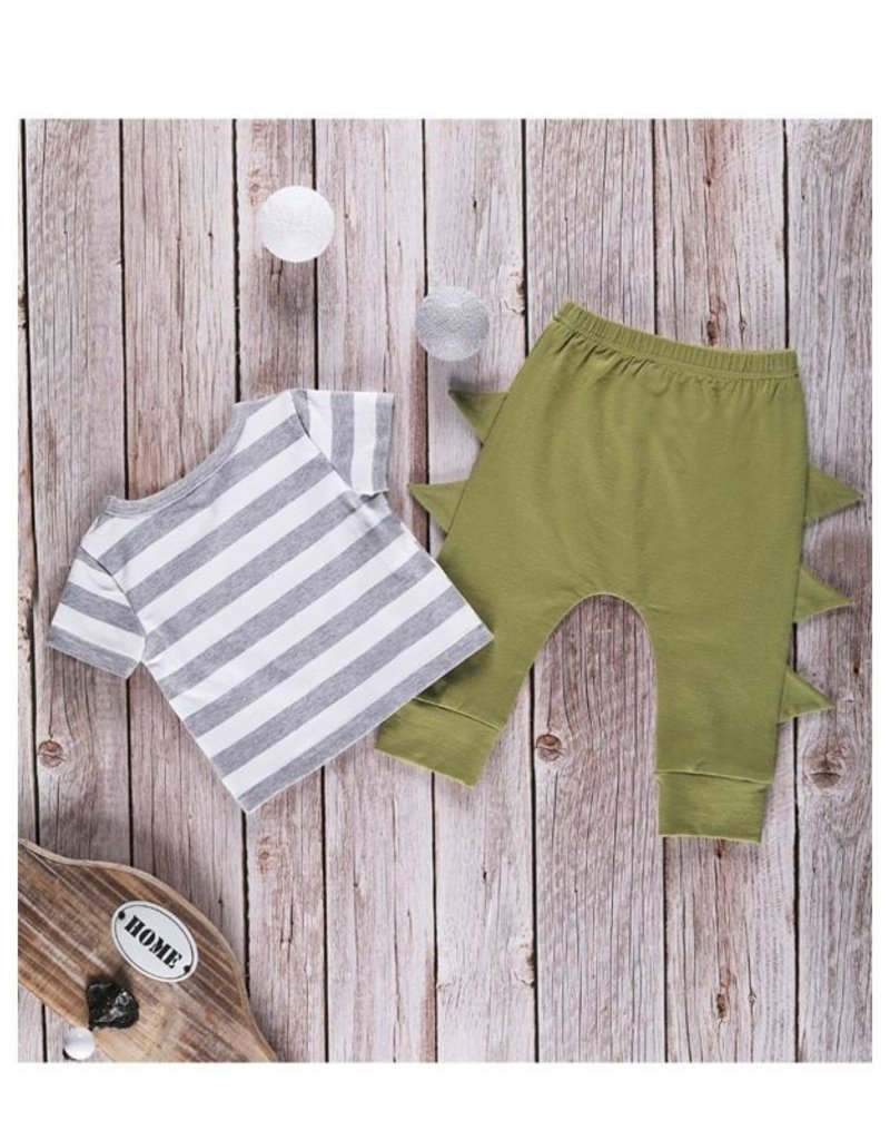 Baby Kiss Dinosaur Top & Spiked Jogger Set