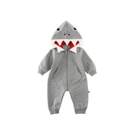 Baby Kiss Grey Baby Shark Hooded Romper