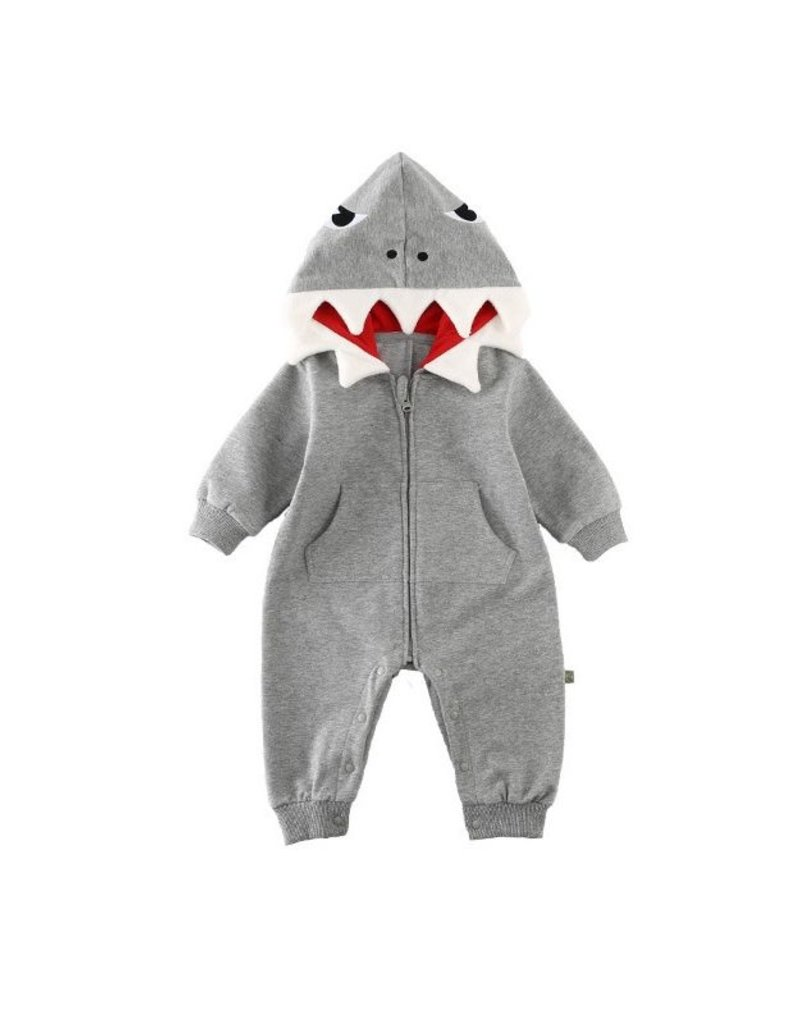 Baby Kiss Grey Baby Shark Hooded Romper