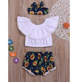 Baby Kiss Sunflower Shorts, Cropped top & Headband Set