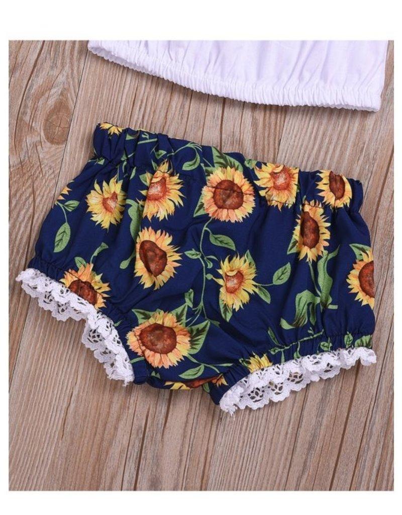 Baby Kiss Sunflower Shorts, Cropped top & Headband Set