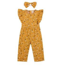 Baby Kiss Mustard Floral Romper w/headband