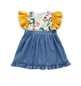 Baby Kiss Country Denim Ruffle Sleeve Dress