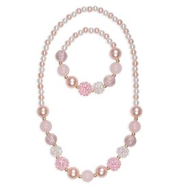 Great Pretenders Pink Pearls Necklace Bracelet Set