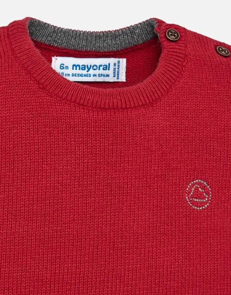 Mayoral Red Cotton Sweater with Button Detail - Mayoral