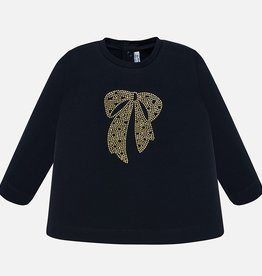 Mayoral Navy Long Sleeve Shirt Rhinestone Bow - Mayoral