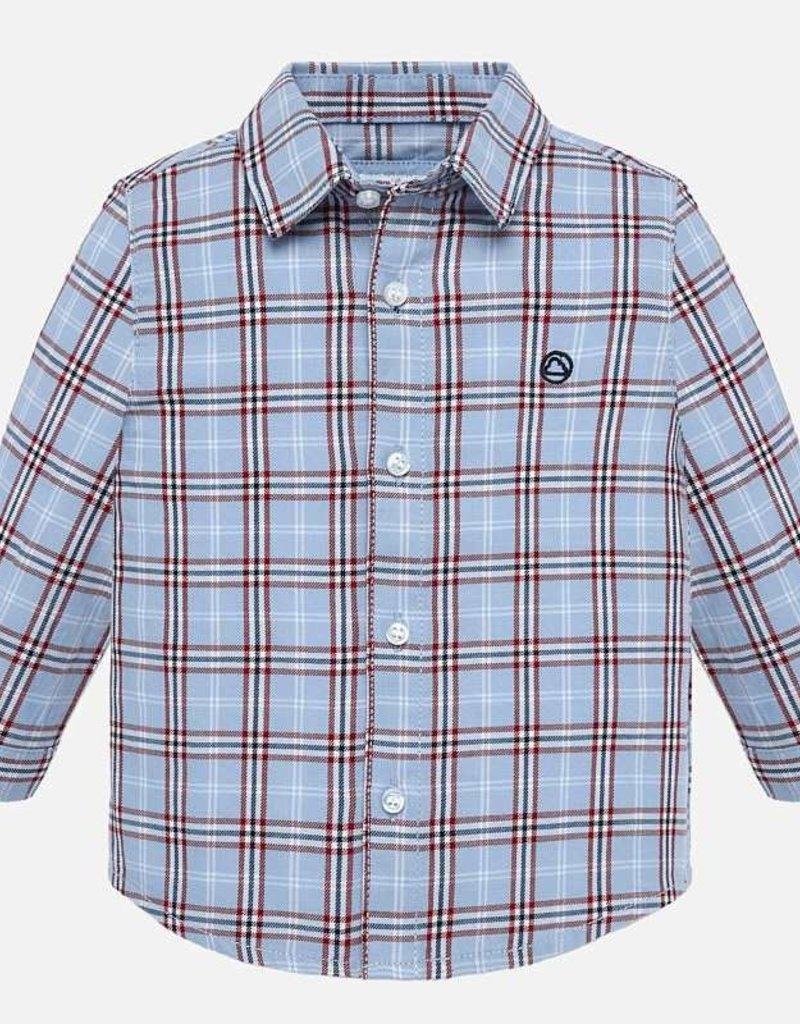Mayoral Cloud Blue Plaid Button Down - Mayoral