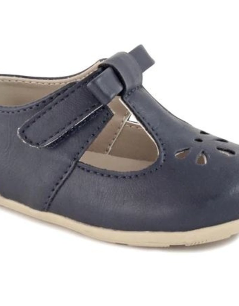 Baby Deer Navy T-Strap Flat w/Bow