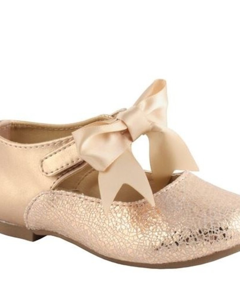 Baby Deer Rose Gold Flats w/ankle strap bow