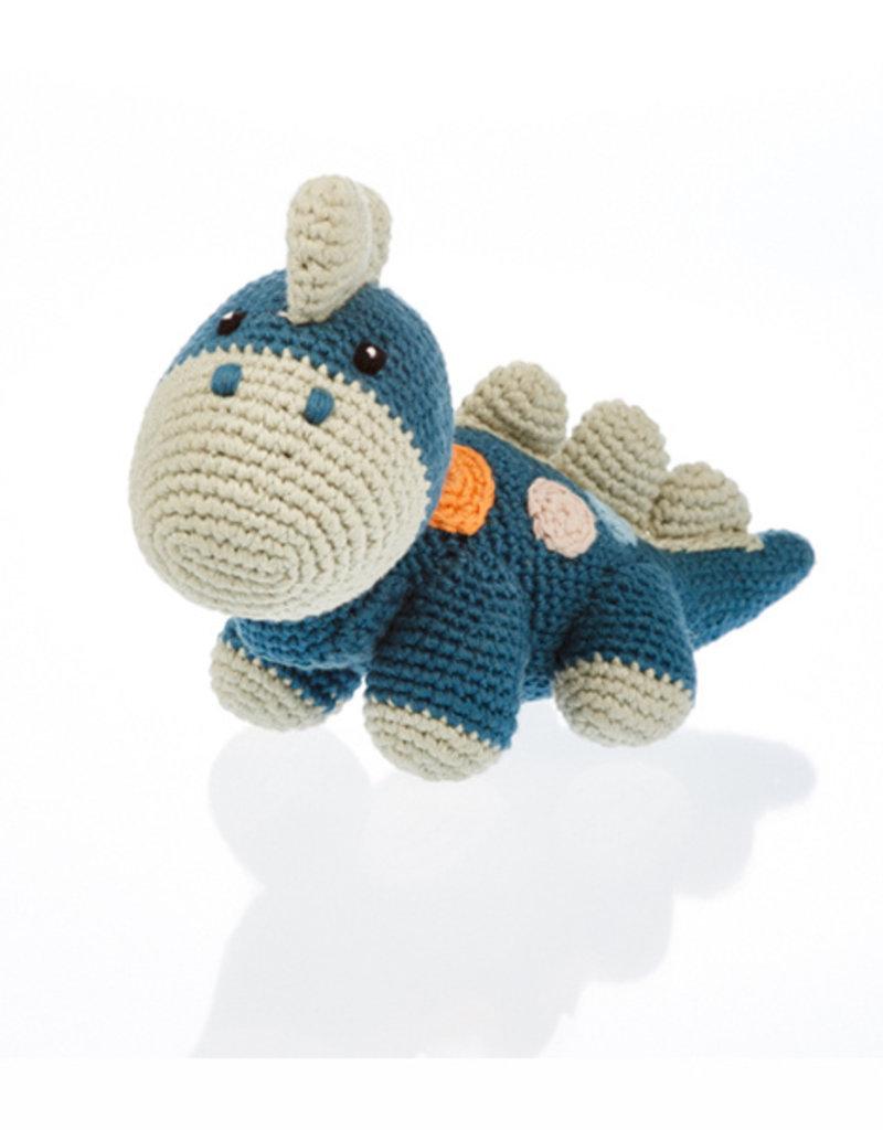 Pebble Knit Organic Blue Dino Rattle