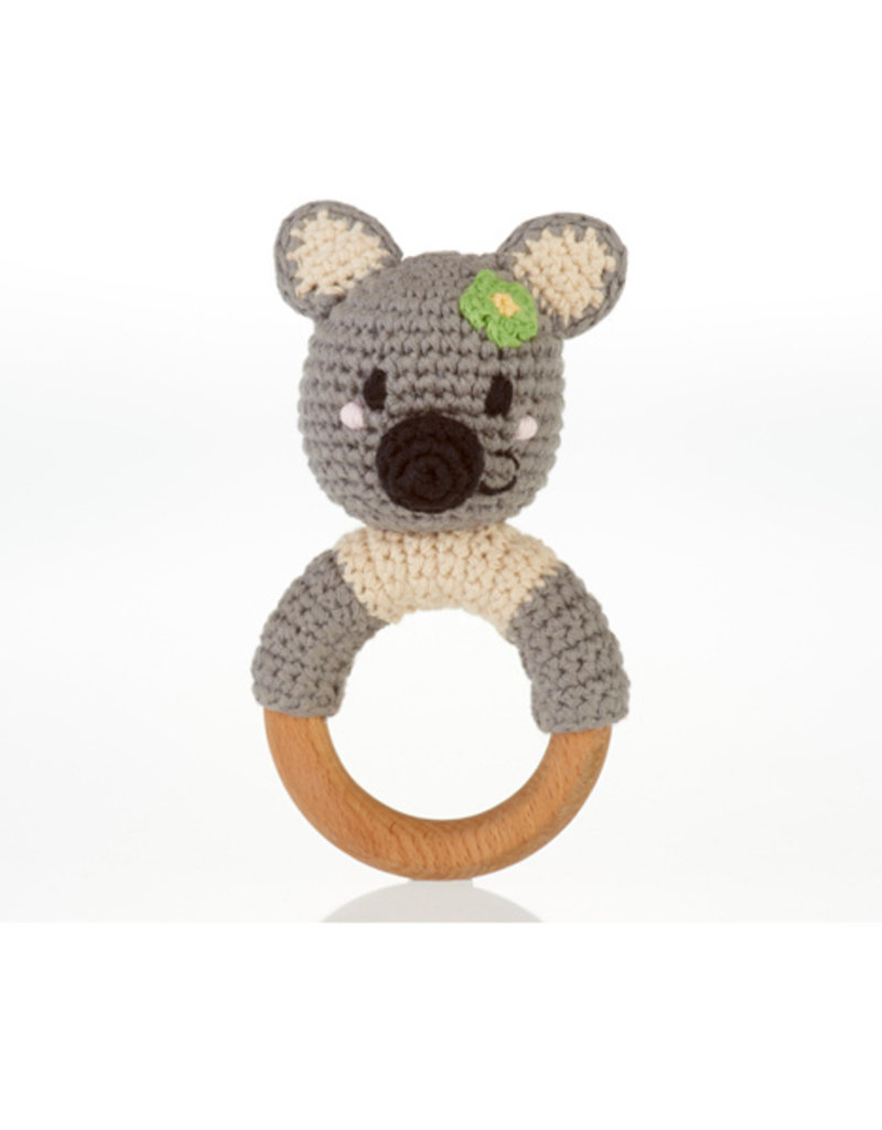 Pebble Knit Koala w/wooden teething ring