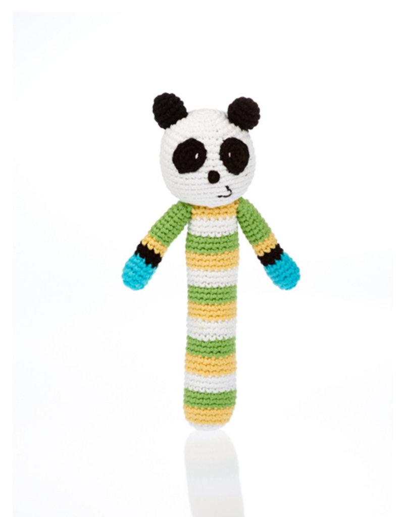 Pebble Knit Panda Rattle Stick