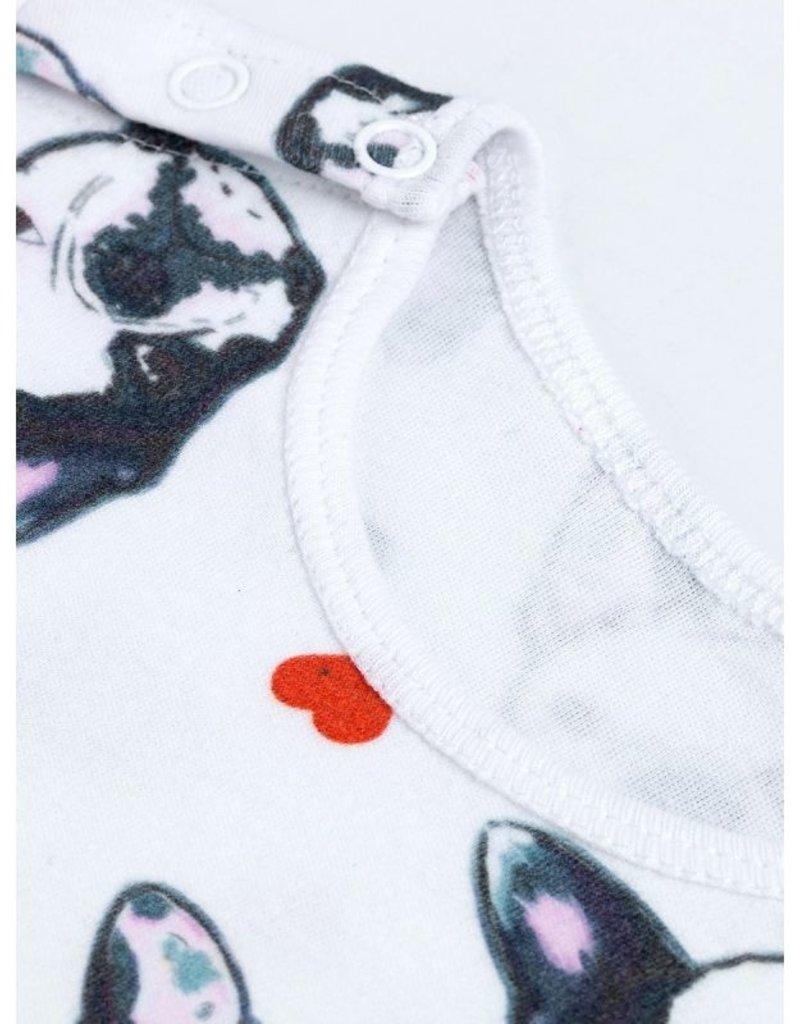 Terrier Dog w/hearts Romper & Hat Set