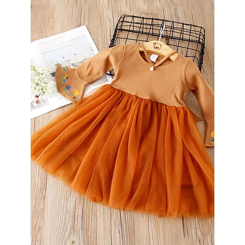 Orange Fall Trumpet Sleeve Dress Hello Baby