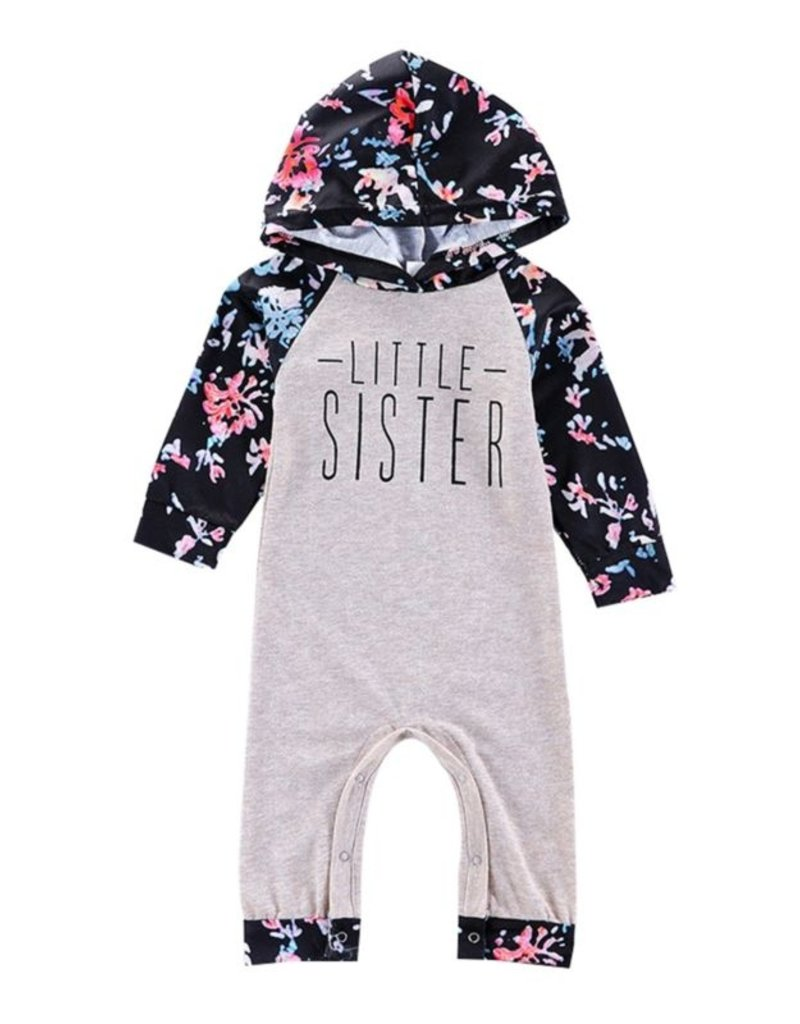 Floral Little Sister Hooded Jumpsuit