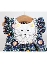 Navy Floral Dress w/ cat applique