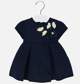 Mayoral Navy Stretch Dress w/Bow Detailing