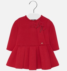 Mayoral Lipstick Red Holiday Dress with Pleated Detail