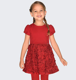 Mayoral Red Holiday Dress with Lace Embroidered overlay - Mayoral