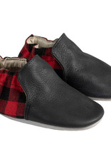 Robeez Black & Red Flannel Leather Shoes