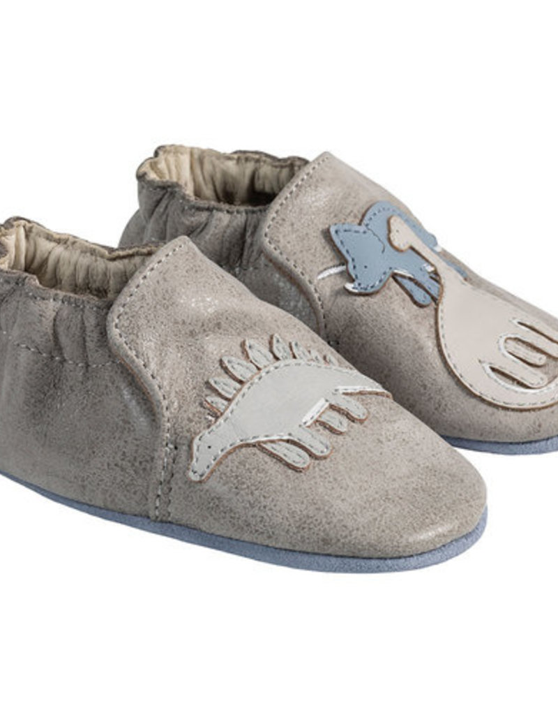 Robeez Grey Dinosaur Applique Shoes