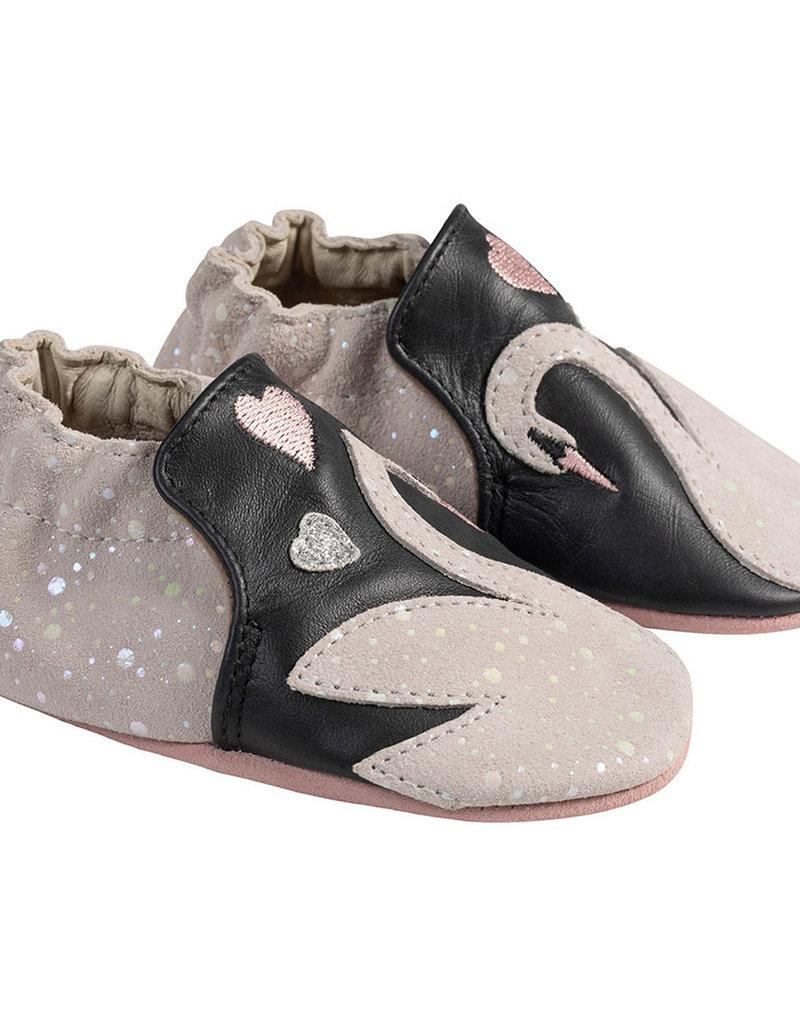 Robeez Leather Swan Applique Shoe