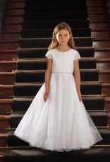 Sweetie Pie Lace Flower Applique Communion Dress