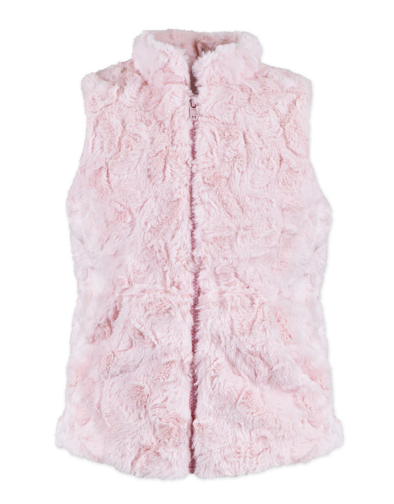Widgeon Pink Swirl Zip-Up Faux Fur Vest