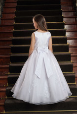 Sweetie Pie Lace Appliqued Belted First Holy Comunion Dress