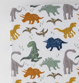 Little Unicorn Cotton Muslin Crib Sheet- Dino Friends