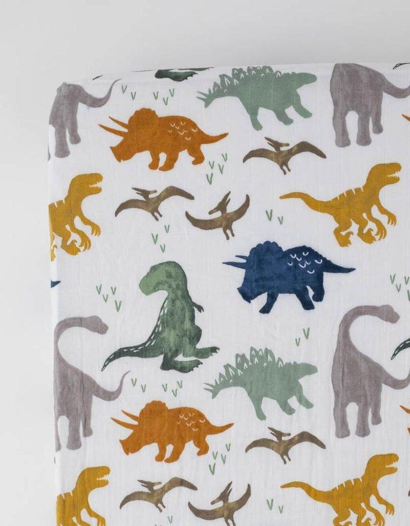 Little Unicorn Cotton Muslin Crib Sheet- Dino Friends