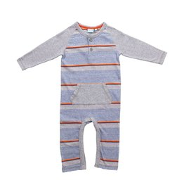 Bear Camp Striped Grey Henley Romper