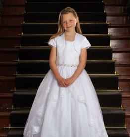Sweetie Pie Embroidered Lace Tier First Holy Communion Dress w/removable Shrug