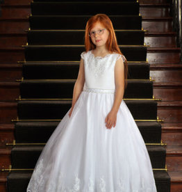 Sweetie Pie Lace Capped Sleeve First Holy Communion Dress