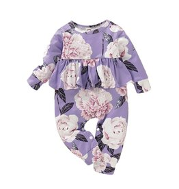 Baby Kiss Floral Lilac Ruffled Jumpsuit