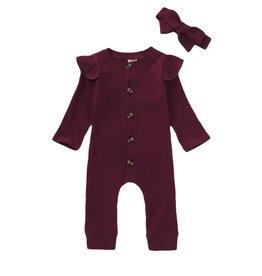 Baby Kiss Maroon Flutter Sleeve Ribbed Bodysuit set