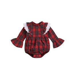 Baby Kiss Plaid Ruffle Sleeve Romper