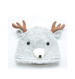 Grey Reindeer Knit Hat