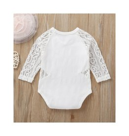 White Onesie w/lace sleeves