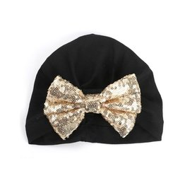 Black Wrap Hat w/gold sequin Bow