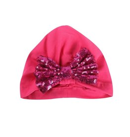 Fuschia Wrap Hat w/pink sequin Bow