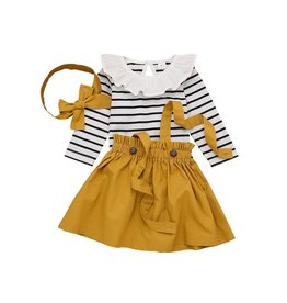 3 Piece Mustard & Striped Skirt, Top & Hair Accessory