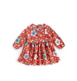 Orange Long Sleeve Floral Dress