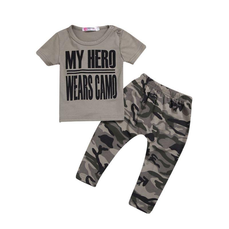 My Hero Wears Camo Tee Amp Pnats Set Hello Baby