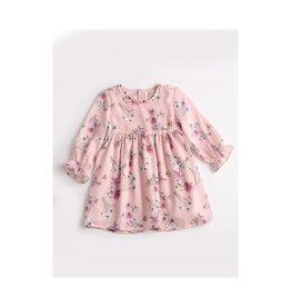 Pink Ruffle Cuffed Floral Dress